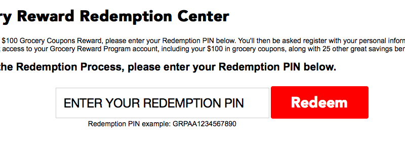 www.groceryrewardprogram.com – Enter PIN to Get $100 in Grocery Coupons